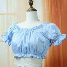 5สีฤดูร้อนผู้หญิงลำลองเสื้อสั้นวิคตอเรียวินเทจเสื้อชีฟองหญิงโลลิต้าเสื้อท็อปส์