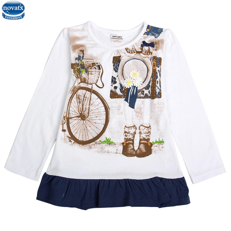 2016 tops new designs girls t shirts bike printed children Girl t shirts design