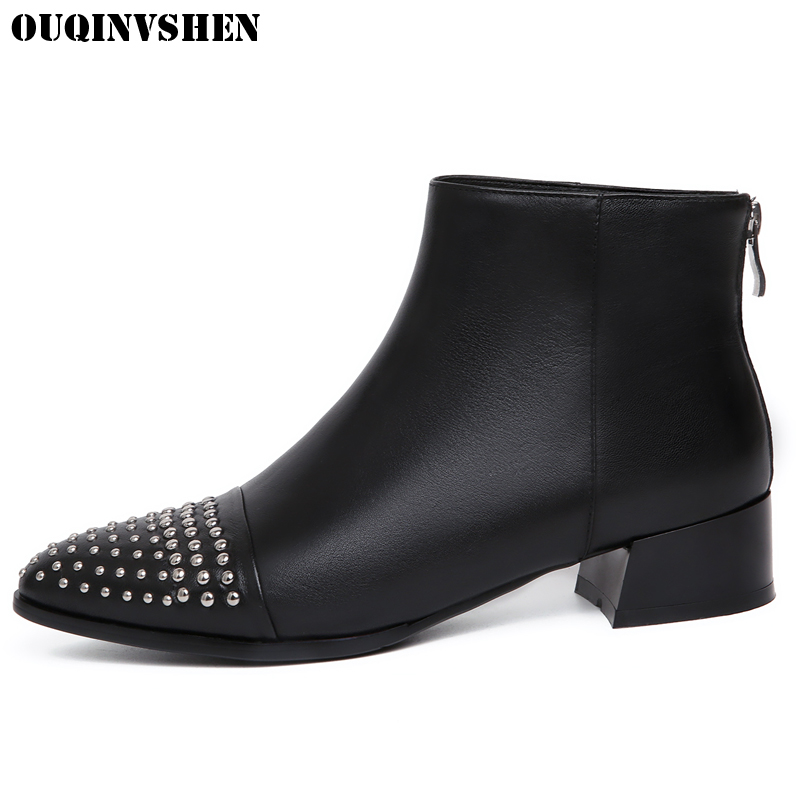 OUQINVSHEN Pointed Toe Square heel Women Boots Casual Fashion Ladies Mid Heel High Heels Ankle Boots Zipper Rivet Women's Boots nemaone 2018 women ankle boots square high heel pointed toe zipper fashion all match spring and autumn ladies boots