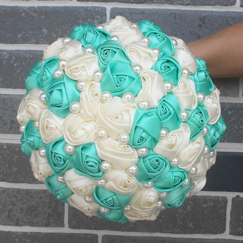 Image 3 - Best Selling Pure Handmade Mint Green Ivory Pearl Beaded Bridal Bouquet Simple Hand Holding Bow Flowers Wedding Bouquet  W322 1-in Wedding Bouquets from Weddings & Events