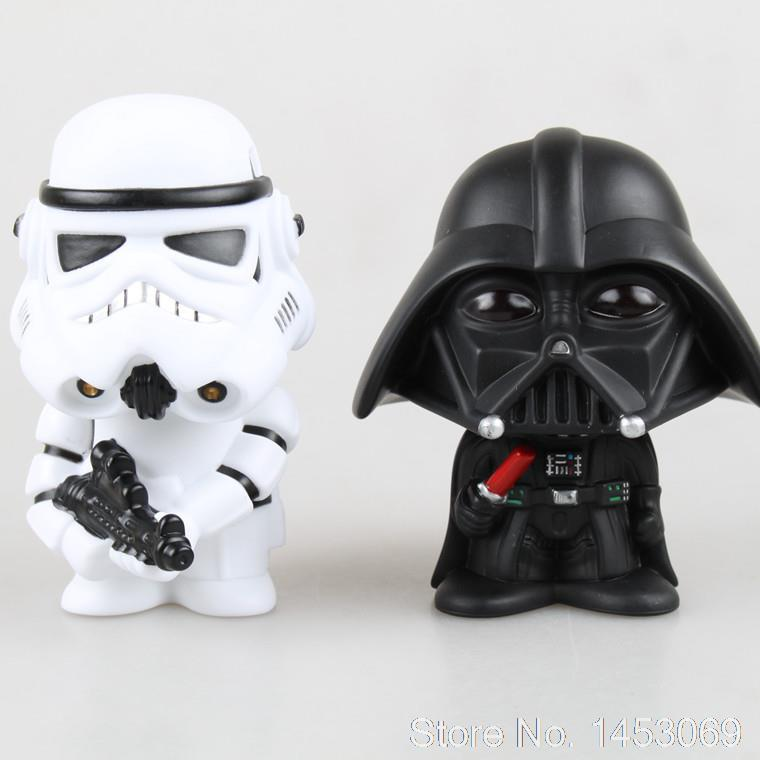Star Wars Stormtrooper Darth Vader Bobble Head Head Knocker PVC Action Figure Collectible Model Toy 10cm 2pcs/set KT1652 star wars the black series darth vader stormtrooper lightsaber pvc action figure brinquedos figuras anime collectible kids toys