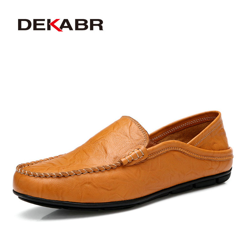 DEKABR Comfortable Handmade Leather Shoes Casual Men's Flats Design Man Driving Shoes Soft Bottom Leather Men Shoes Size 38-46