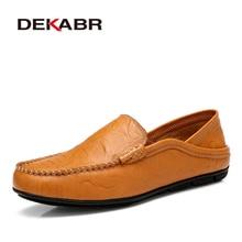 412df669a DEKABR مريحة اليدوية أحذية من الجلد عارضة الرجال الشقق تصميم رجل أحذية  قيادة لينة أسفل حذاء