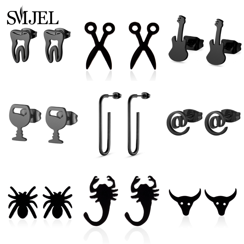 SMJEL Hip Hop Earrings Black Animal Jewelry Small Tooth Round Stainless Steel Stud Earring Best Doctor Gift for Women Girl bijou