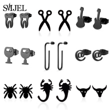 Hip-Hop-Earrings Stainless-Steel Best-Doctor Black Animal Jewelry Gift Tooth Small Women