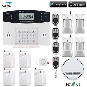 Saful 433 мГц GSM сигнализация ЖК-дисплей домашний охранный проводной сирена комплект SIM SMS Авто Diale Обнаружение контроля доступа для дома