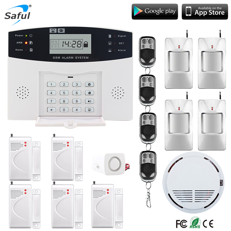 Saful 433 mhz GSM Alarm System LCD Display Home Security Verdrahtete Sirene Kit SIM SMS Auto Diale Erkennen Access Control alarm für Home