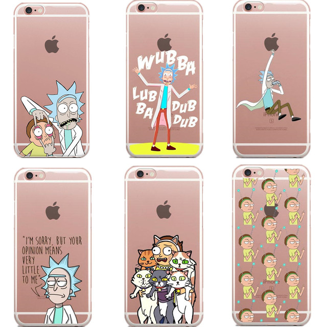 quality design f4ea9 b2905 US $1.83 49% OFF|Rick And Morty Phone Case Cover For iPhone7 XR XS Max 6S 6  Plus 5S 5 SE Transparent Soft Silicon Coque Case For iPhon 8 8Plus X-in ...