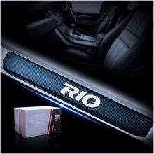 Для Kia RIO K2 автомобильный Стайлинг 4 шт. наклейка из углеродного волокна Накладка на порог двери автомобиля порога Накладка авто аксессуары