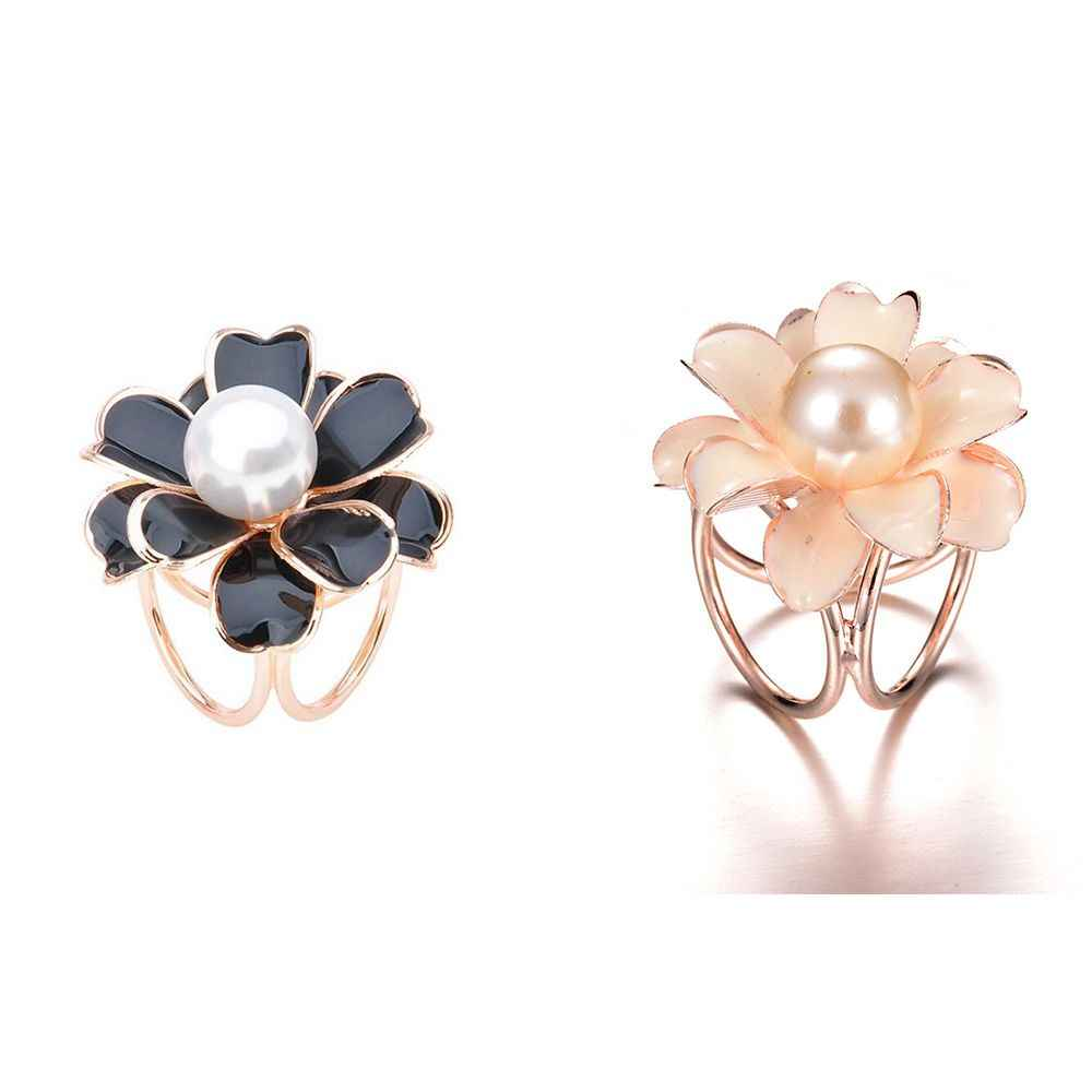 Fashion Elegan Halus Simulasi Mutiara Camellia Bentuk Bros Wanita Populer Aksesoris Perhiasan Alloy Syal Pin