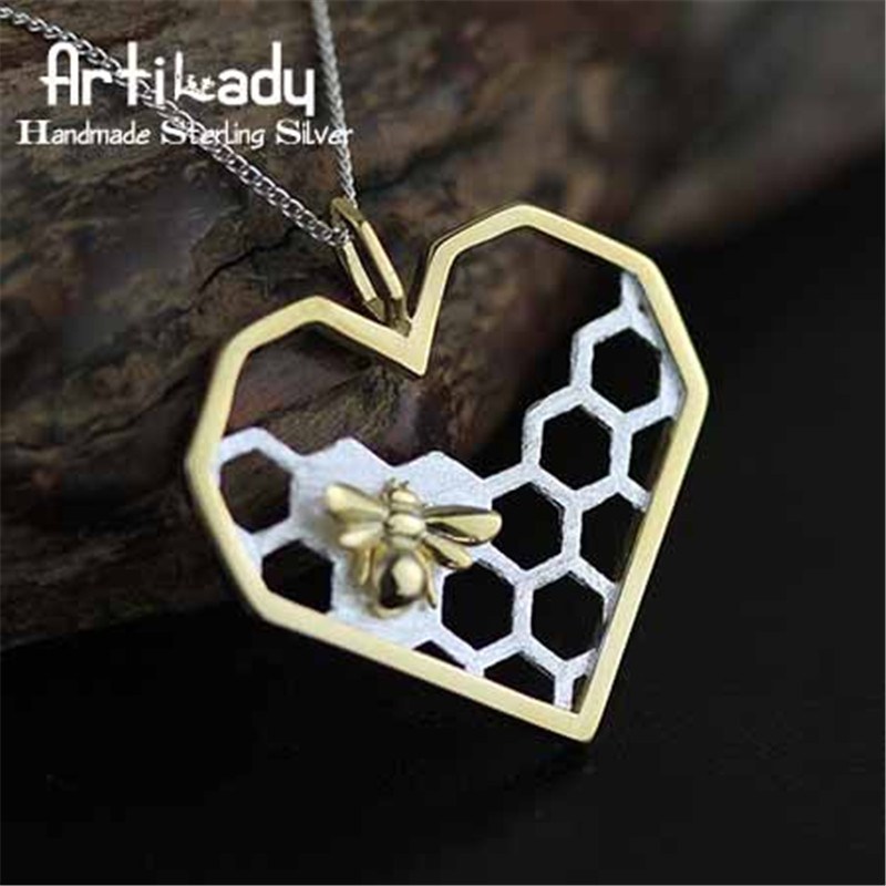 Artilady 925 sterling silver honey comb pendant elegant handmade bee comb pendant for women jewelry gift party occasion kaletine honey bee 925 sterling silver bracelets colorful heart luxury love honey comb golden bee jewelry for men women bracelet