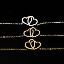 Rose Gold Filled Double Heart Charm Bracelets For Women Boho Jewelry Stainless Steel