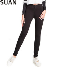SUAN 2017 Spring Women Pants Stretchable Female Elastic High Waist Pants Women ThickTrousers Pants & Capris AAAAA Cotton