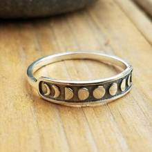 1PC Women Lady Handmade Vintage Silver Moon Phase Finger Ring Simple Band Jewelry Size 6-10 Party Accessories
