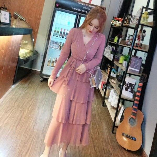 Mesh Sequins Bling Cake Dress Long Vintage Princes Lady Layers Ruffles Dress V Neck Robe Longue Vestido Largo Vestiti Lunga 1