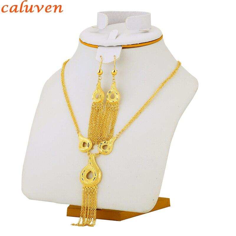 Sada etiopských šperků zlatá barva africká / dubajská / Habesha / Eritre / arabské šperky pro kulaté náušnice / náhrdelník / přívěsek pro ženy