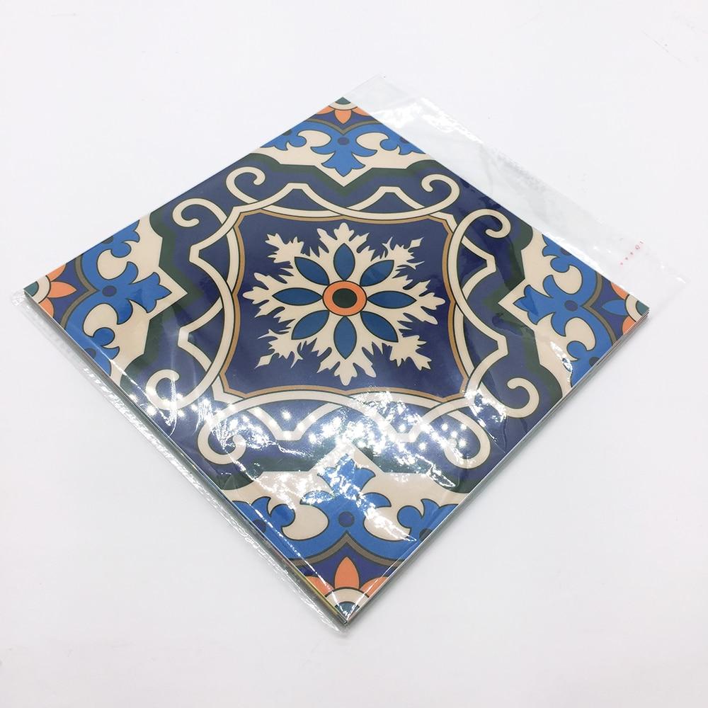 Купить с кэшбэком Funlife CUSTOM10/15/20/25/30cm Moroccan Tiles PVC Waterproof Self-adhensive Wallpaper DIY Ground Sticker pack of 10