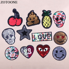 ZOTOONE Reversible Sequins Patch Iron On Skull Star Letter Cherry Patches For Clothes DIY Change Color D