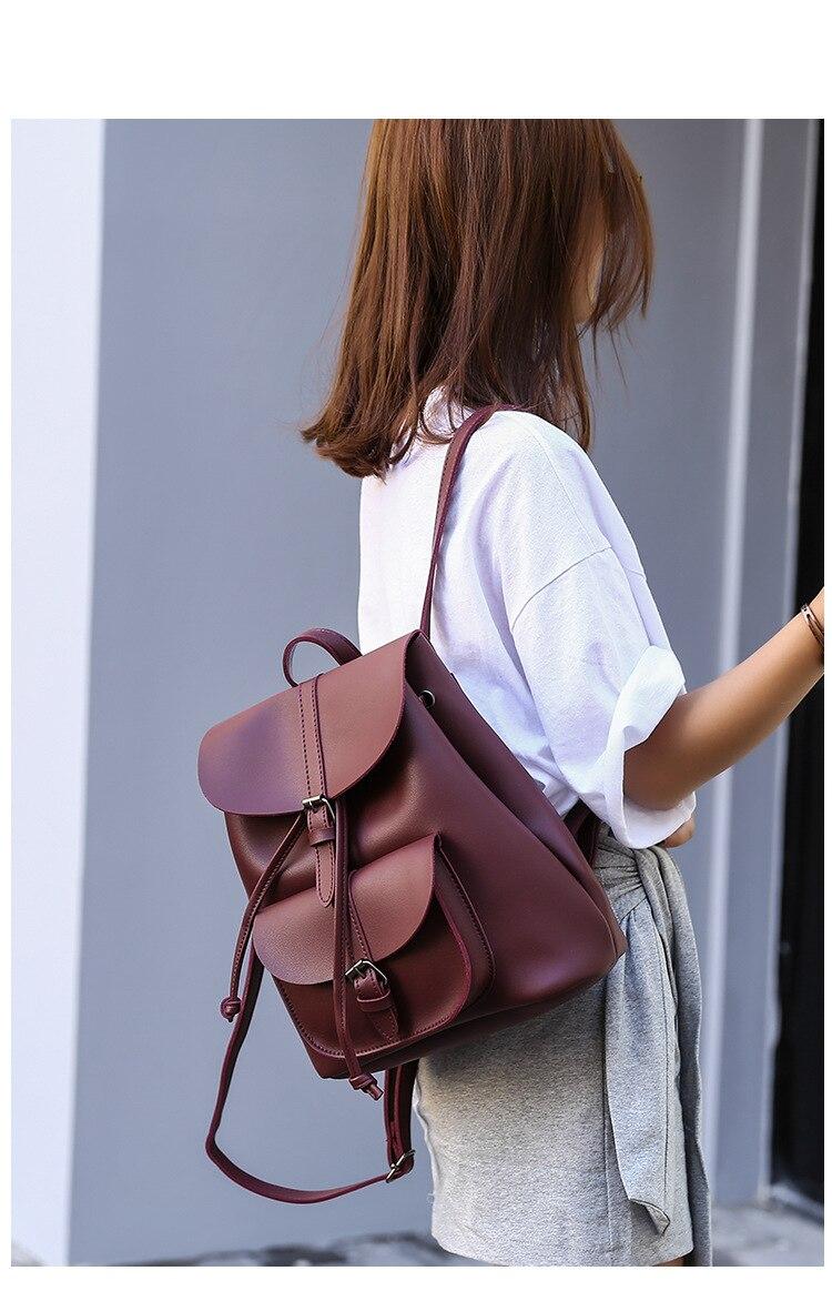 HTB1QpIwbdjvK1RjSspiq6AEqXXa5 Pocket PU Leather Women Backpack Female Retro Designer Schoolbag for Teenagers Girl's Casual Large Travel Bag Laptop Backpack