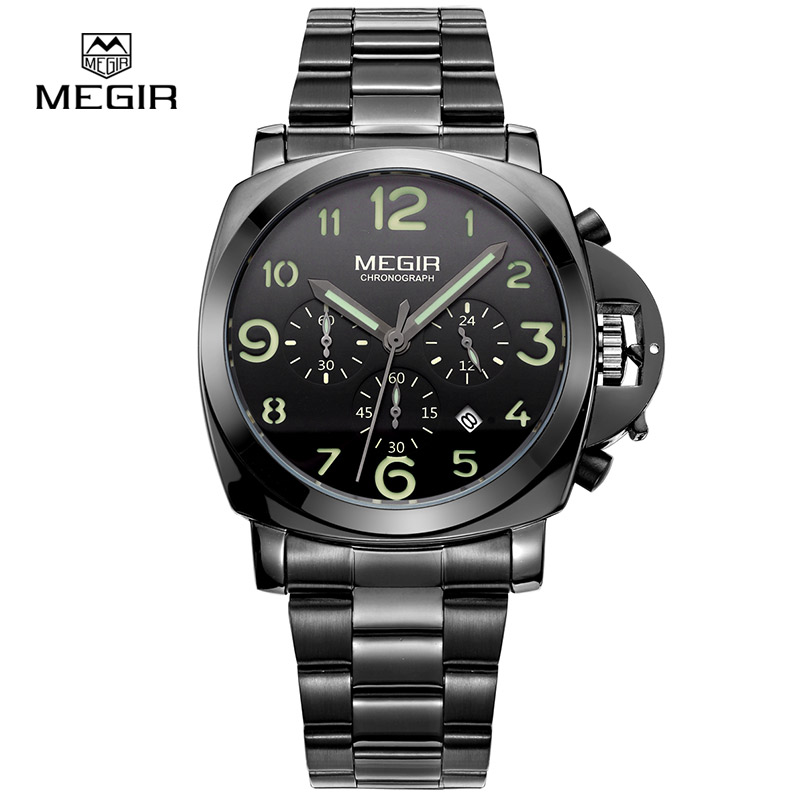 Megir men fashion quartz watch analog wristwatch man waterproof business watches for male 3406 free shipping цена