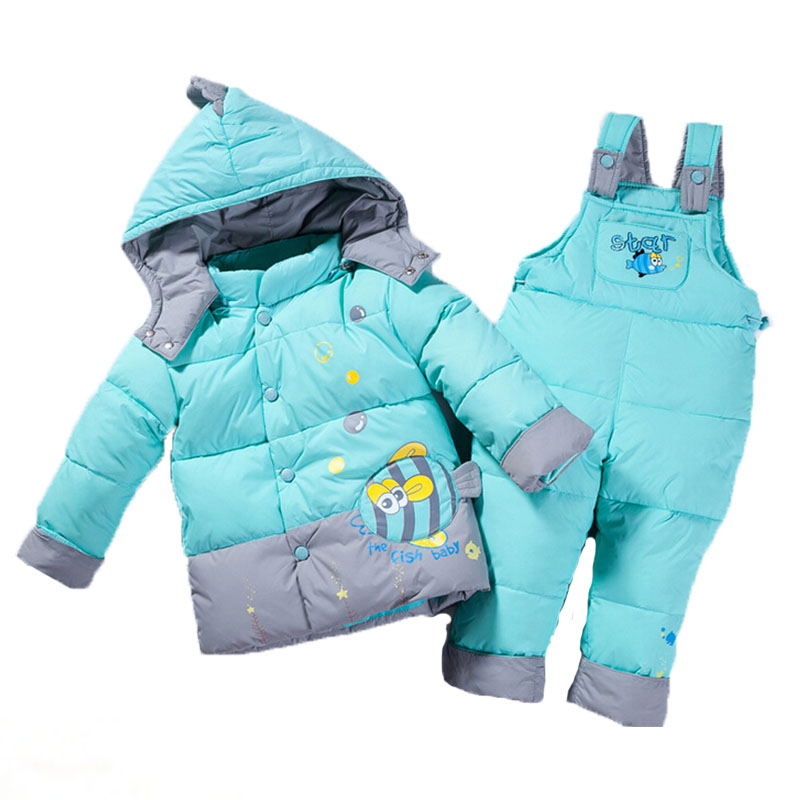 0-24 Months Winter Outwear Down Jacket Baby Boy Girl Clothes Fish Warm Toddler Newborn Clothing Set Coat + Pants For Russian