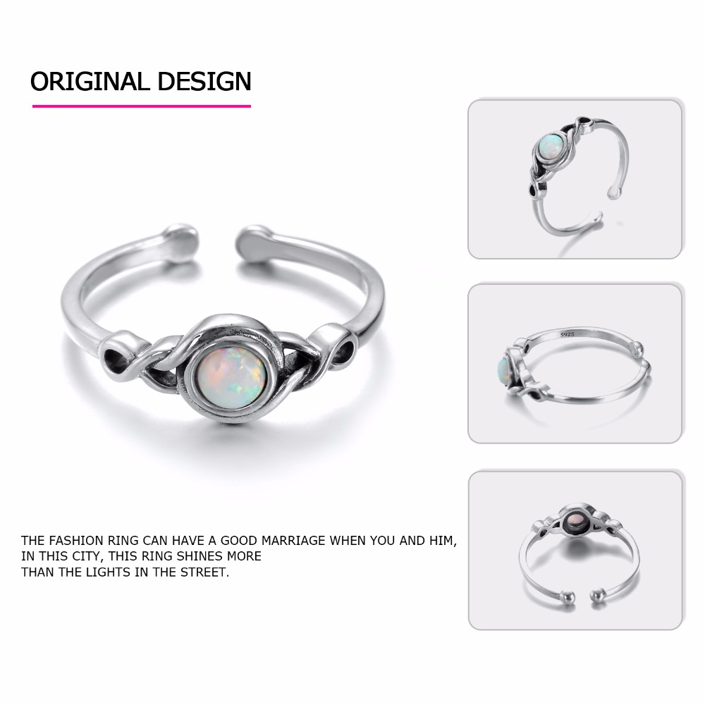 eManco Size7 Current 925 Sterling Silver Open cuff Opal Rings for Women Vintage One Piece boho Jewelry Anneaux pour les femmes