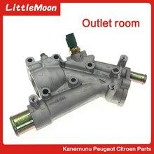 Aluminium Auto Motor Kühlsystem Thermosta tHousing Flansch Für Peugeot 307 407 Citroen C4 C5 9687927980 1338.AV 1338AV 1336.X9