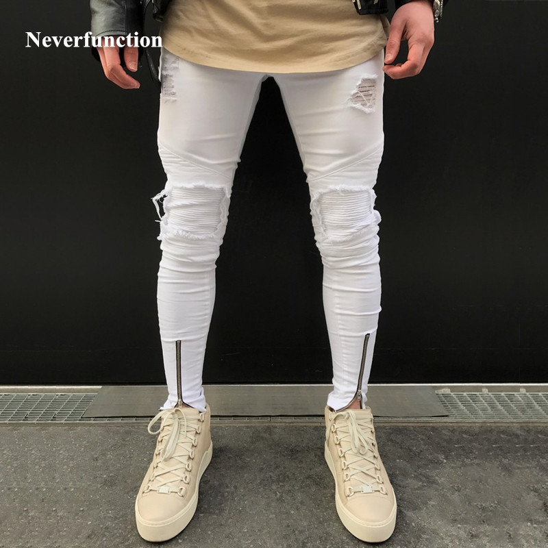 2018 New Mens Ripped Pleated White Skinny Jeans Ankle Zipper Denim Destoryed Pencil Pants Hip Hop Holes For Men  Biker Jeans