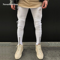 2018 New Mens Ripped Pleated white Skinny Jeans Ankle Zipper Denim Destoryed Pencil pants hip hop Holes for men biker Jeans