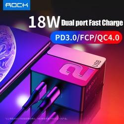 Us plug pd carregamento rápido usb carregador rock 18 w u + c pd 3.0 fcp qc4.0 & qc3.0 adaptador de viagem carga rápida para iphone x xs huawei