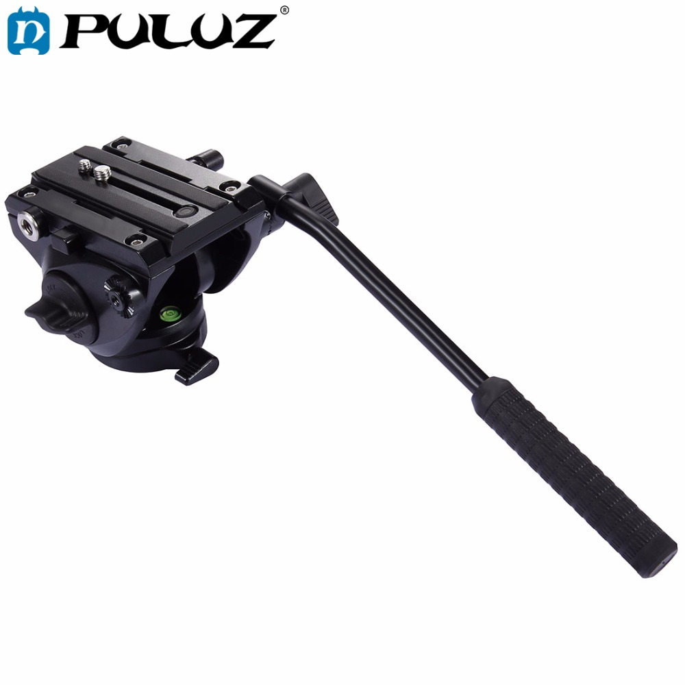 PULUZ Video Camera Tripod head Hydraulic Damping Fluid Drag Pan Head with Sliding Plate Panoramic Head for Slider Monopod DSLR asxmov alum 8kg payload hydraulic tripod head panoramic head for camera video shooting photography tripod head