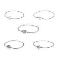 5 Style 925 Sterling Silver Charms Basic Bracelets For Women Full Crystal Heart Round Bead Chain for Diy Beads Charm