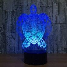 Морская черепаха 3D лампа светодиодный нажимной светильник красочная лампа в форме животного День Рождения декоративные статуэтки Настольная лампа для детских игрушек подарок