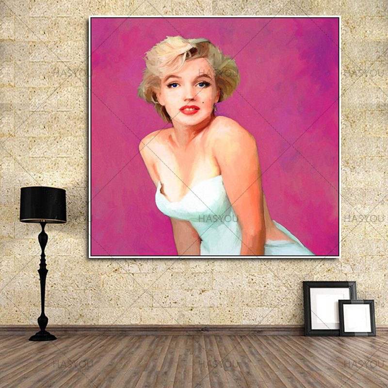 Pure Hand painted Famous Abstract Oil Painting canvas Hand Painted Figure Modern Art Monroe Paintings For Living Room Decor in Painting Calligraphy from Home Garden