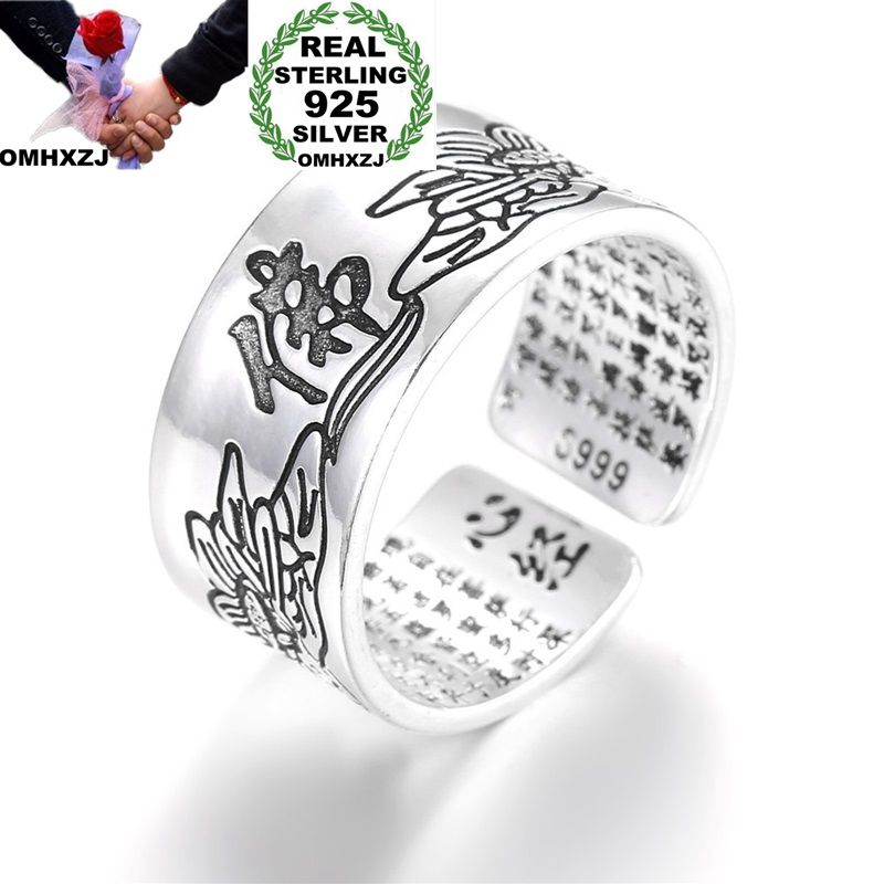 OMHXZJ Wholesale European Fashion Woman Man Party Wedding Gift Chinese Famous Words Engraved Open Taiyin Ring RR254
