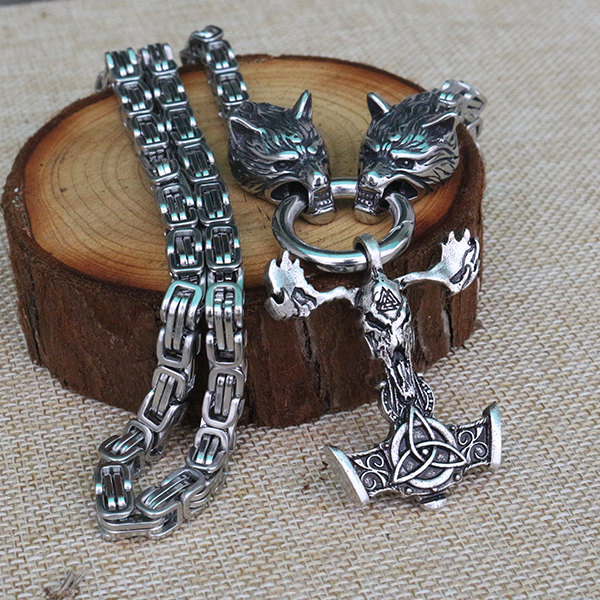 Men stainless steel necklace viking wolf head with thor's Skull goat hammer mjolnir pendant norse talisman ethnic jewelry
