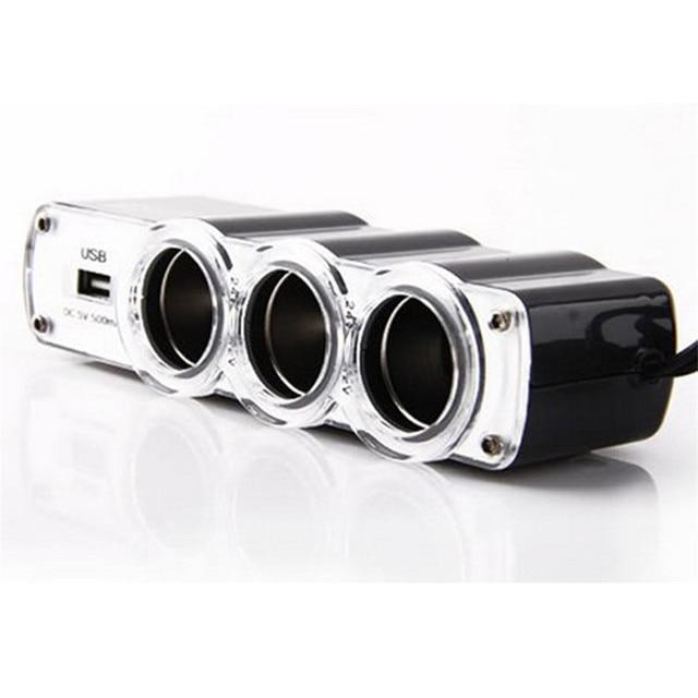 1 Fuente de nuevo cargador USB y tres enchufes de encendedor de coche extensor Jun01 #2 5 inferior