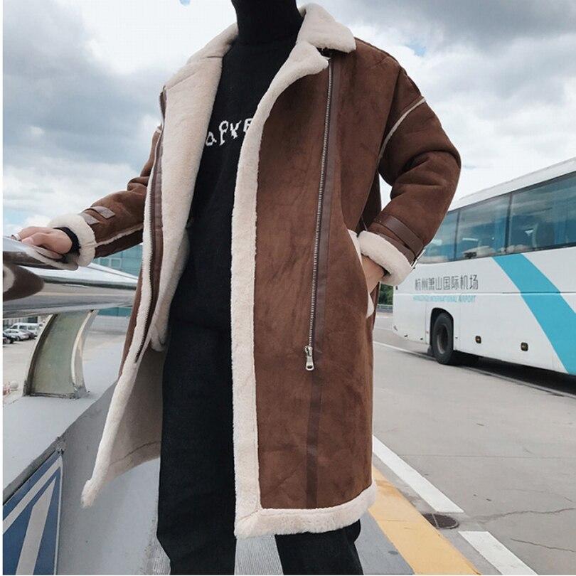 Nouveau 2019 mode coréenne épaisse de haute qualité longue Trench manteau hommes hiver pardessus lâche hiver Zipper hommes Trench Coat 2 couleurs - 2