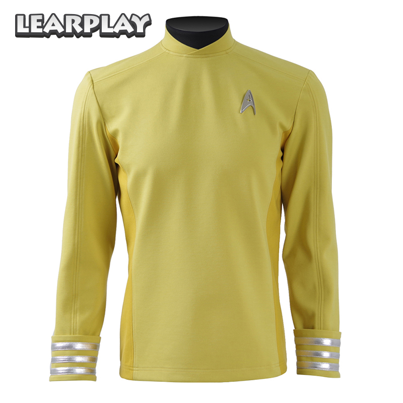 Star Trek beyond Sulu Kirk Jacket Cosplay Costumes Yellow Shirt Commander Uniform with Free Badge Halloween Top For Man