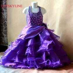 Реальное фото на заказ большие размеры 2 до 14 холтер-line бисером Тюль Платья для подружек невесты цветок одежда для девочек Sky765 оптовая