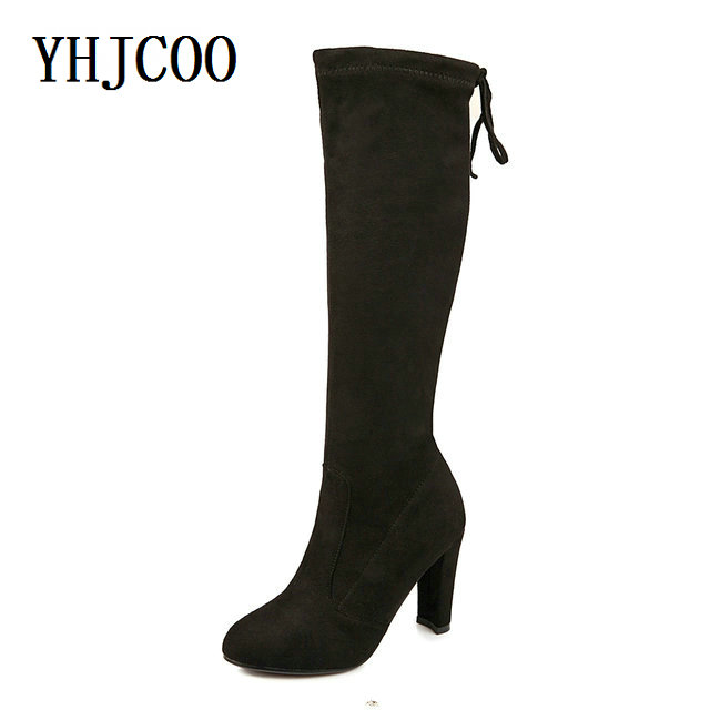 Suede Women Thigh High Boots Autumn Stretch Slim Sexy Fashion Knee-High Boots Female Shoes High Heels Black Plus size 43 autumn winter women boots stretch faux suede slim thigh high boots fashion sexy over the knee boots high heels shoes woman 35 43