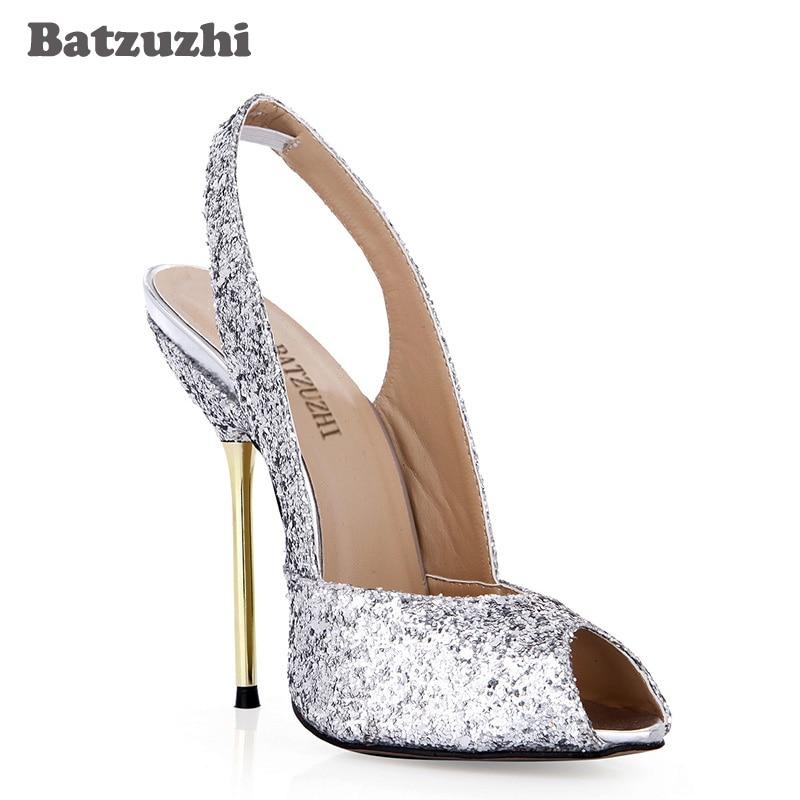 Mujer Batzuzhi Silver Sandali 12 Open Toe Nuziale 4 Stile Del Alti Per Delle E Italiano Tacchi Zapatos Di Partito La Argento Donne Cerimonia Scarpe viola Cm Bling AA6WS4r