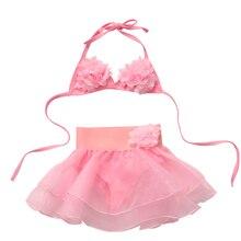 Kids Girl Children Pink Swimsuit Swimwear Beachwear Bikini Set Swimming Bathing Suit