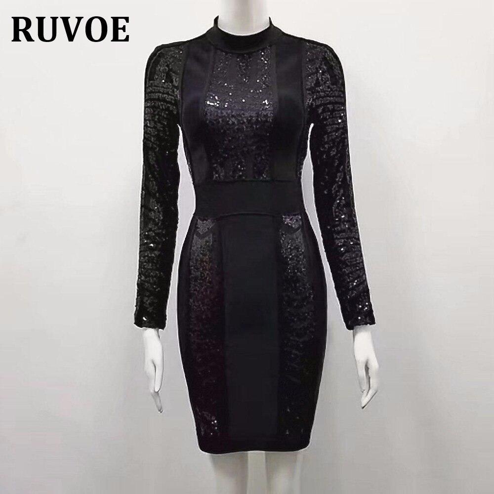 Hiver femmes Sexy Paillette à manches longues genou-longueur Sequin noir rayonne dentelle Bandage robe élégante célébrité robe de soirée Q-73