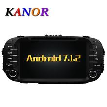 KANOR Android 7.1 Quad core RAM 2G Del Coche DVD GPS Para KIA Soul 2014 2015 Reproductor de Vídeo Reproductor Multimedia WIFI Audio SWC mapa