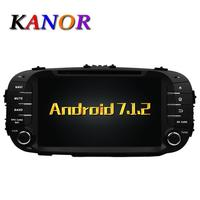 KANOR Android 7.1 Quad core RAM 2G GPS Do Carro DVD Para KIA Soul 2014 2015 Video Player Multimedia Player WIFI Áudio SWC mapa