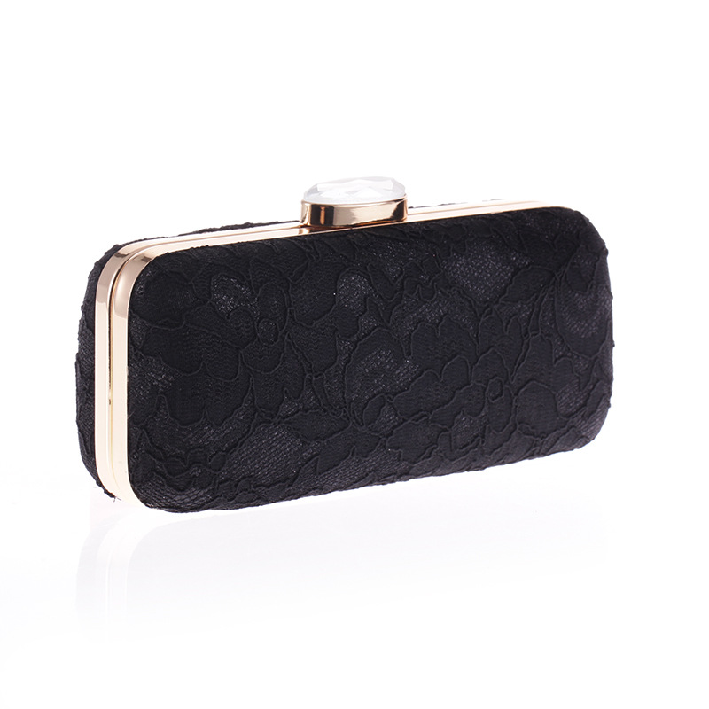 Fashion Lace Floral Women 39 s Evening Party Clutch Solid Flower Flap Bag Crystal Hasp Wild Handbag Metal Shoulder Chain Crossbody in Clutches from Luggage amp Bags