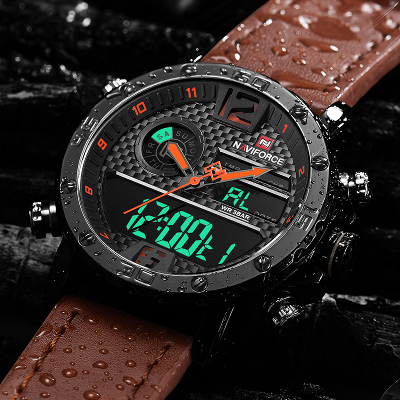 Mens Watches Luxury Brand Men Leather Sports Watches NAVIFORCE Men's Quartz LED Digital Clock Waterproof Military Wrist Watch