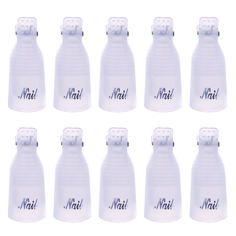 Image 5 - Biutee 10PC Nail Art Plastic Gel Nail Polish Remover Soak Off Cap Clip UV Gel Polish Wrap Tool for removal of varnish-in Sets & Kits from Beauty & Health