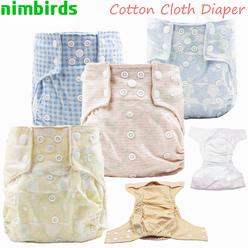 3 PCS 100% Cotton Waterproof  Cloth Diaper With Cotton Inner One Size Baby Reusable Printed Diaper AI2 Organic Cotton Nappy